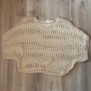 Tan knit poncho size medium NWOT